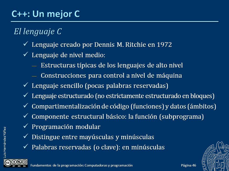 Luis Hernández Yáñez El lenguaje C Lenguaje creado por Dennis M. Ritchie en 1972 Lenguaje creado por Dennis M. Ritchie en 1972 Lenguaje de nivel medio