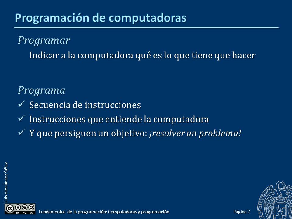 Luis Hernández Yáñez Programar Indicar a la computadora qué es lo que tiene que hacer Programa Secuencia de instrucciones Secuencia de instrucciones I