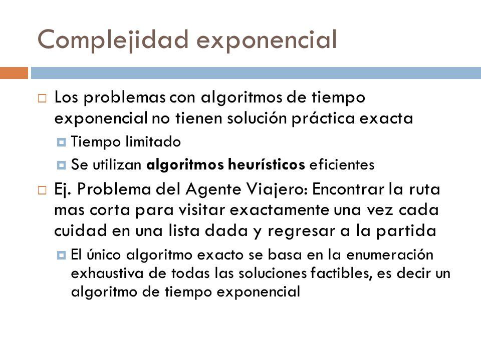 Complejidad exponencial Los problemas con algoritmos de tiempo exponencial no tienen solución práctica exacta Tiempo limitado Se utilizan algoritmos h