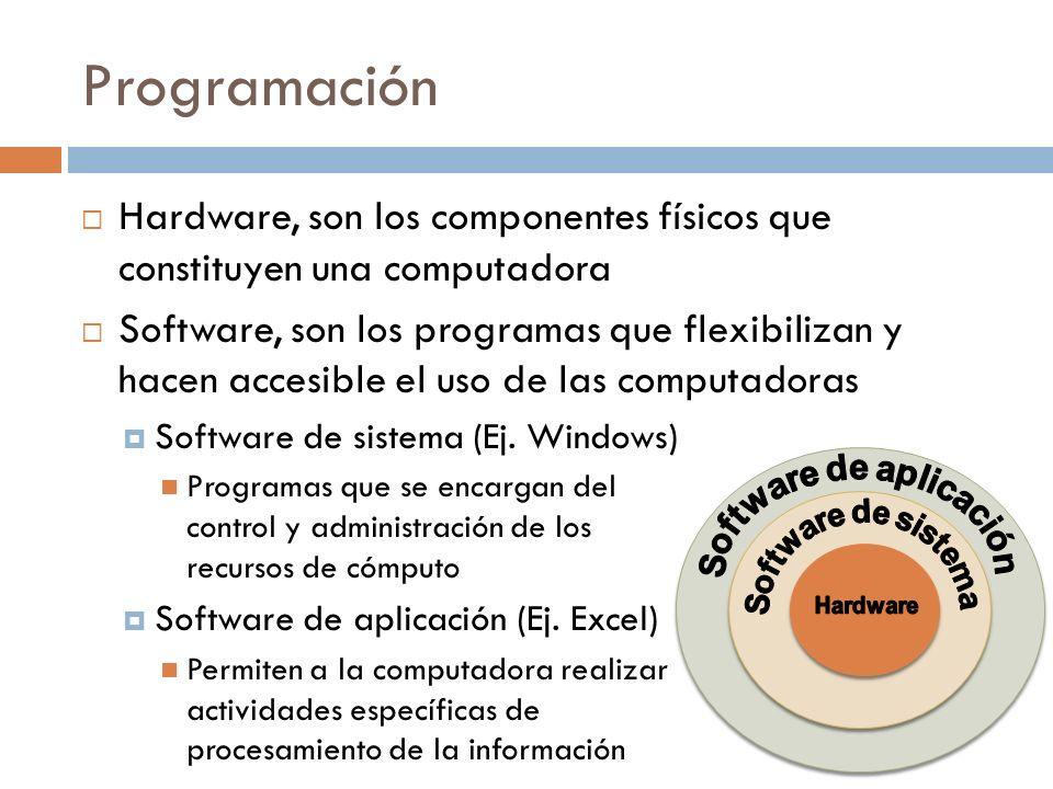 Programación Hardware, son los componentes físicos que constituyen una computadora Software, son los programas que flexibilizan y hacen accesible el u