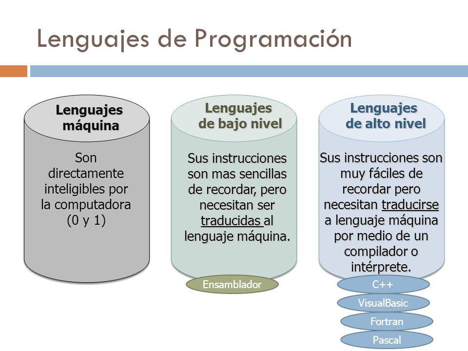 Lenguajes de Programación Lenguajes máquina máquina Son directamente inteligibles por la computadora (0 y 1) Lenguajes de alto nivel de alto nivel Sus