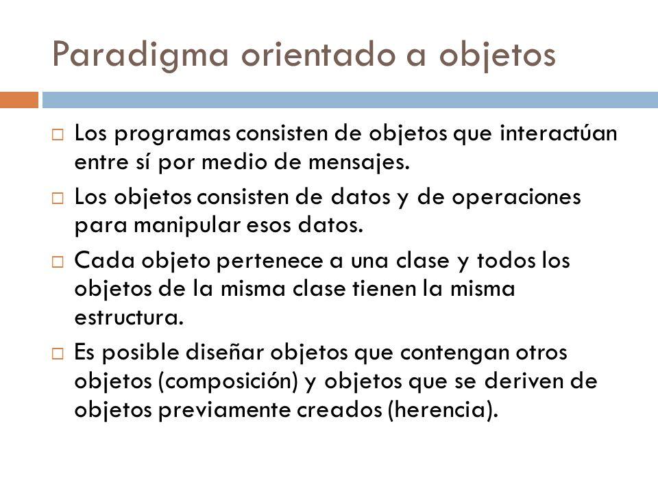 Paradigma orientado a objetos Los programas consisten de objetos que interactúan entre sí por medio de mensajes. Los objetos consisten de datos y de o
