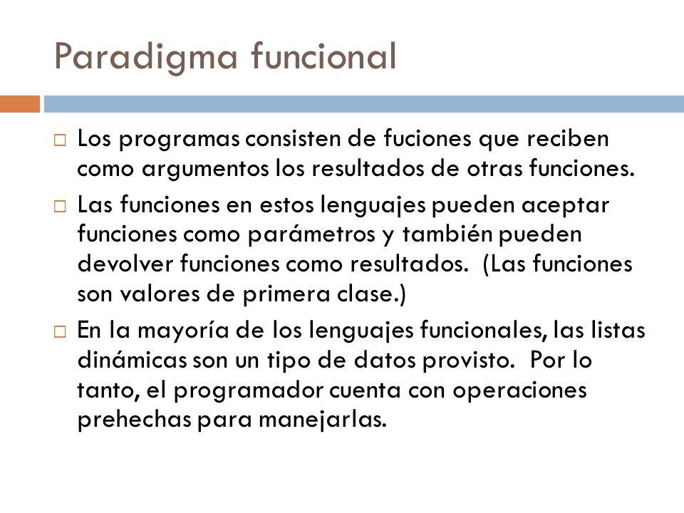 Paradigma funcional Los programas consisten de fuciones que reciben como argumentos los resultados de otras funciones. Las funciones en estos lenguaje