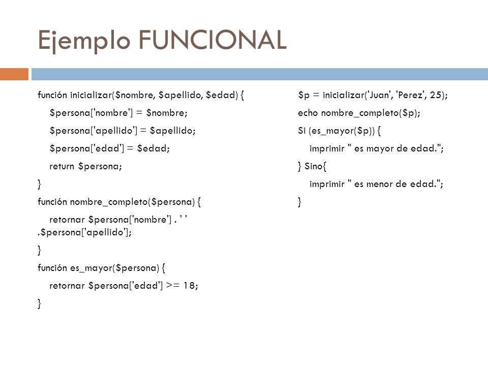 Ejemplo FUNCIONAL $p = inicializar('Juan', 'Perez', 25); echo nombre_completo($p); Si (es_mayor($p)) { imprimir