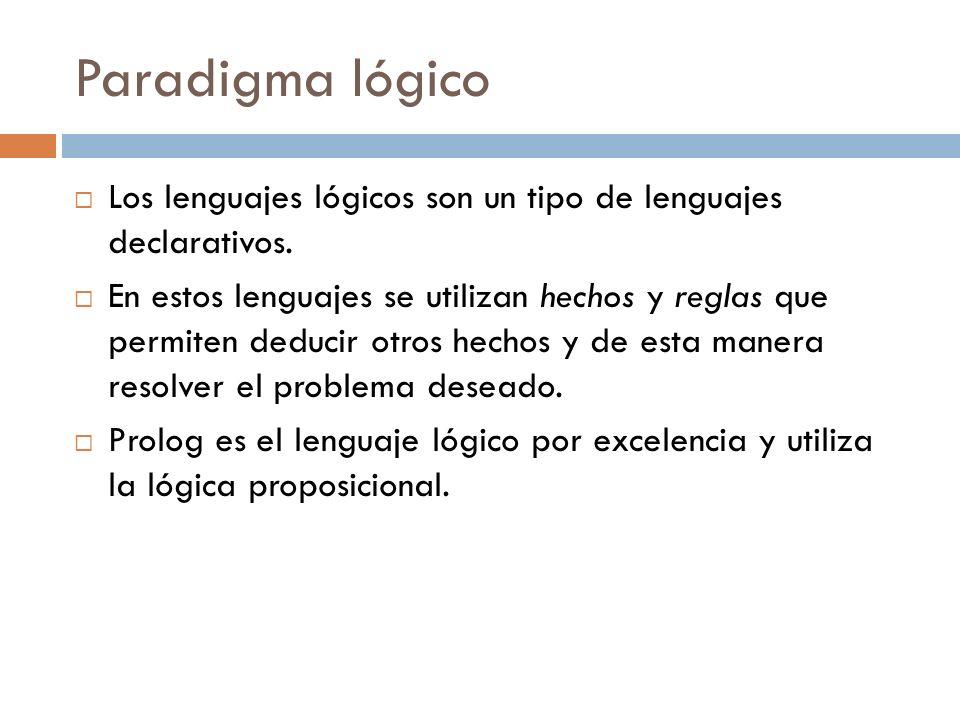 Paradigma lógico Los lenguajes lógicos son un tipo de lenguajes declarativos. En estos lenguajes se utilizan hechos y reglas que permiten deducir otro