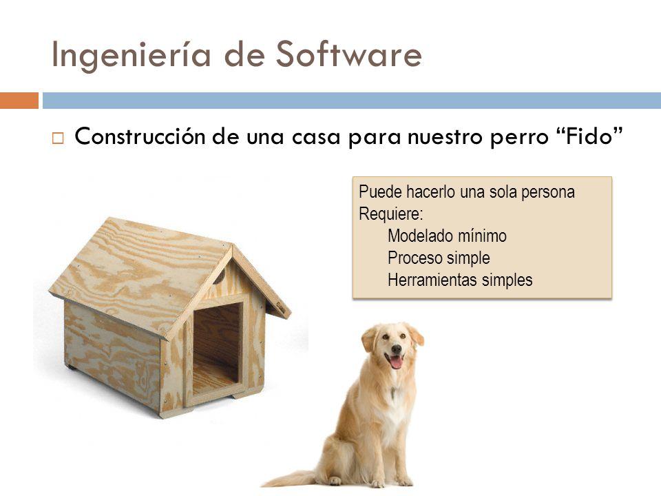Ingeniería de Software Construcción de una casa para nuestro perro Fido Puede hacerlo una sola persona Requiere: Modelado mínimo Proceso simple Herram