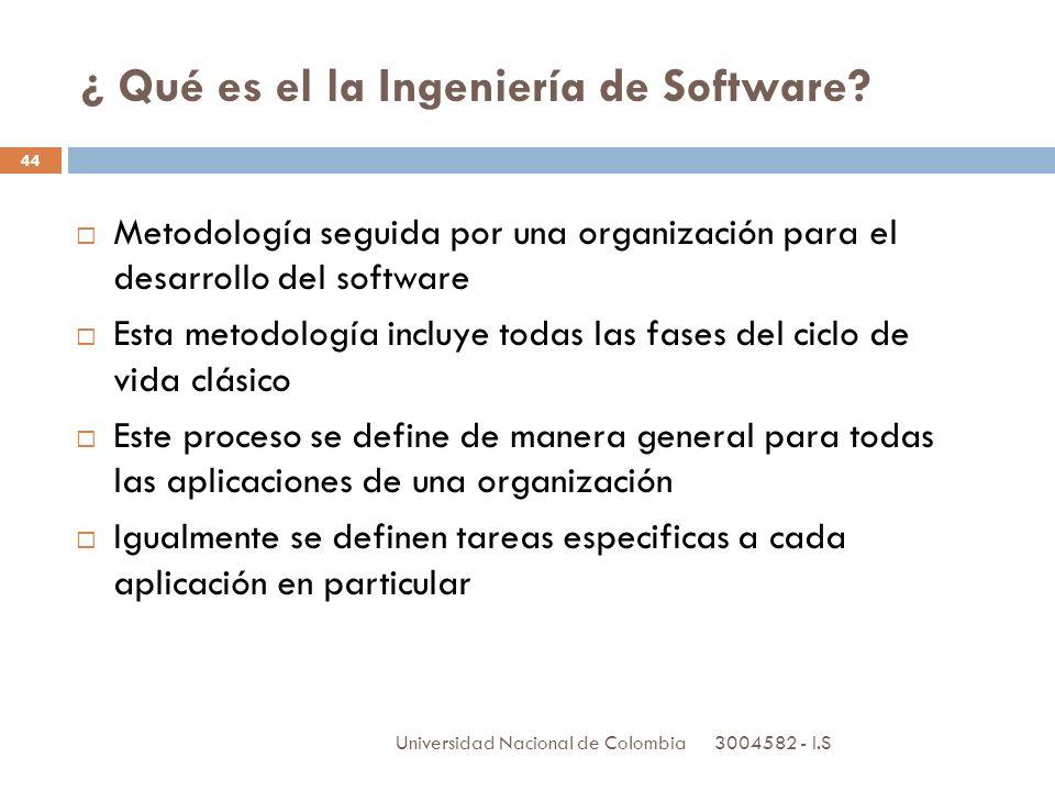3004582 - I.S Universidad Nacional de Colombia 44 ¿ Qué es el la Ingeniería de Software? Metodología seguida por una organización para el desarrollo d