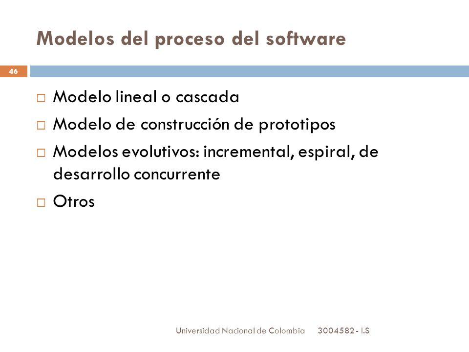 3004582 - I.S Universidad Nacional de Colombia 46 Modelos del proceso del software Modelo lineal o cascada Modelo de construcción de prototipos Modelo