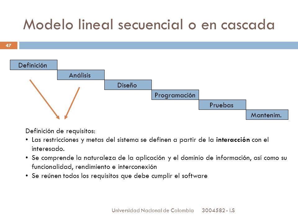 3004582 - I.S Universidad Nacional de Colombia 47 Definición Análisis Diseño Programación Pruebas Mantenim. Definición de requisitos: Las restriccione