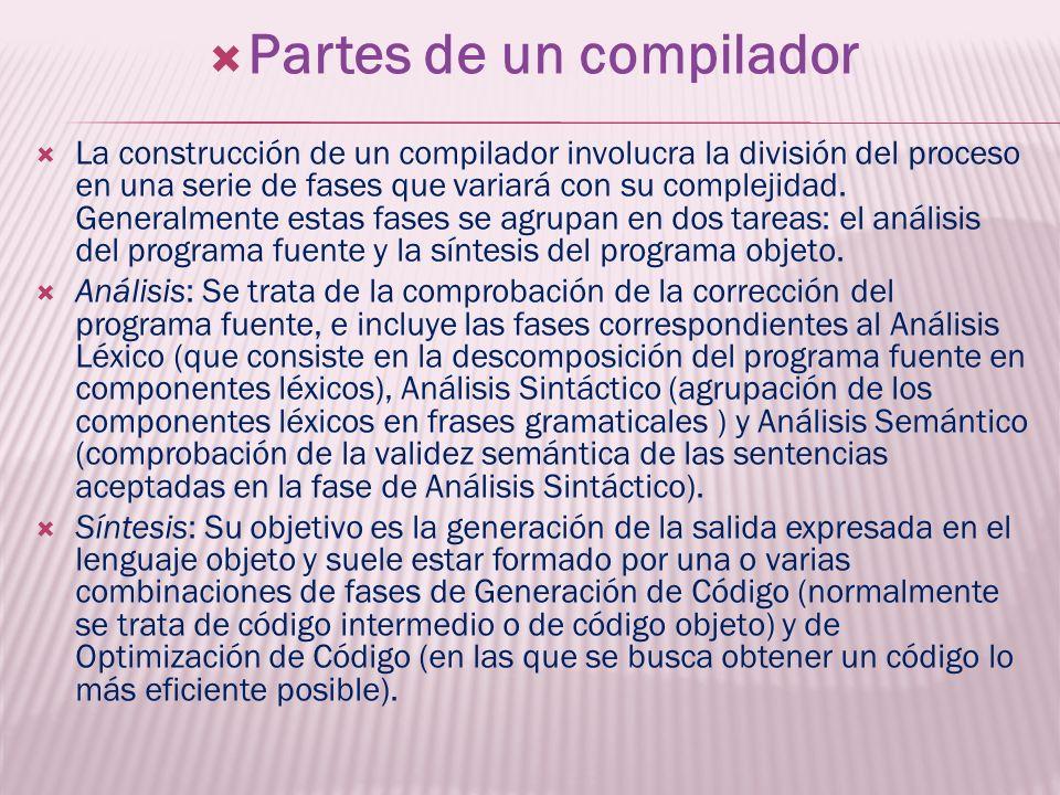 Partes de un compilador La construcción de un compilador involucra la división del proceso en una serie de fases que variará con su complejidad. Gener