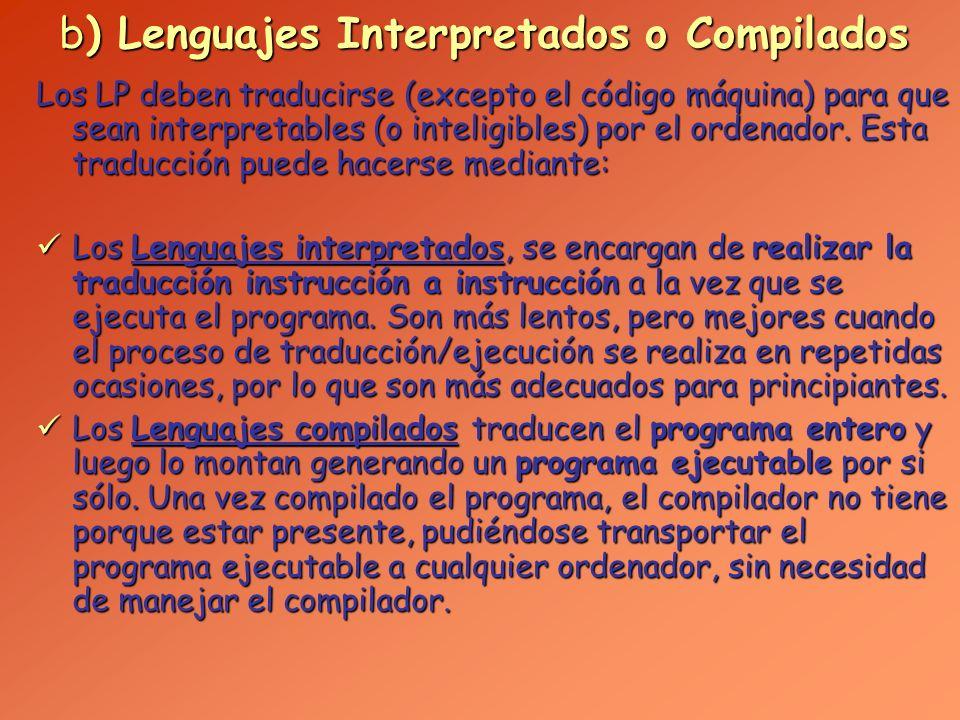 c) Lenguajes clásicos, visuales y de Internet Los Lenguajes clásicos están basados en un lenguaje en el que se escribe el código necesario para realizar las operaciones que se requieren (posteriormente será traducido o compilado, generando un programa ejecutable).