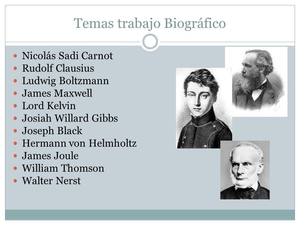 Temas trabajo Biográfico Nicolás Sadi Carnot Rudolf Clausius Ludwig Boltzmann James Maxwell Lord Kelvin Josiah Willard Gibbs Joseph Black Hermann von
