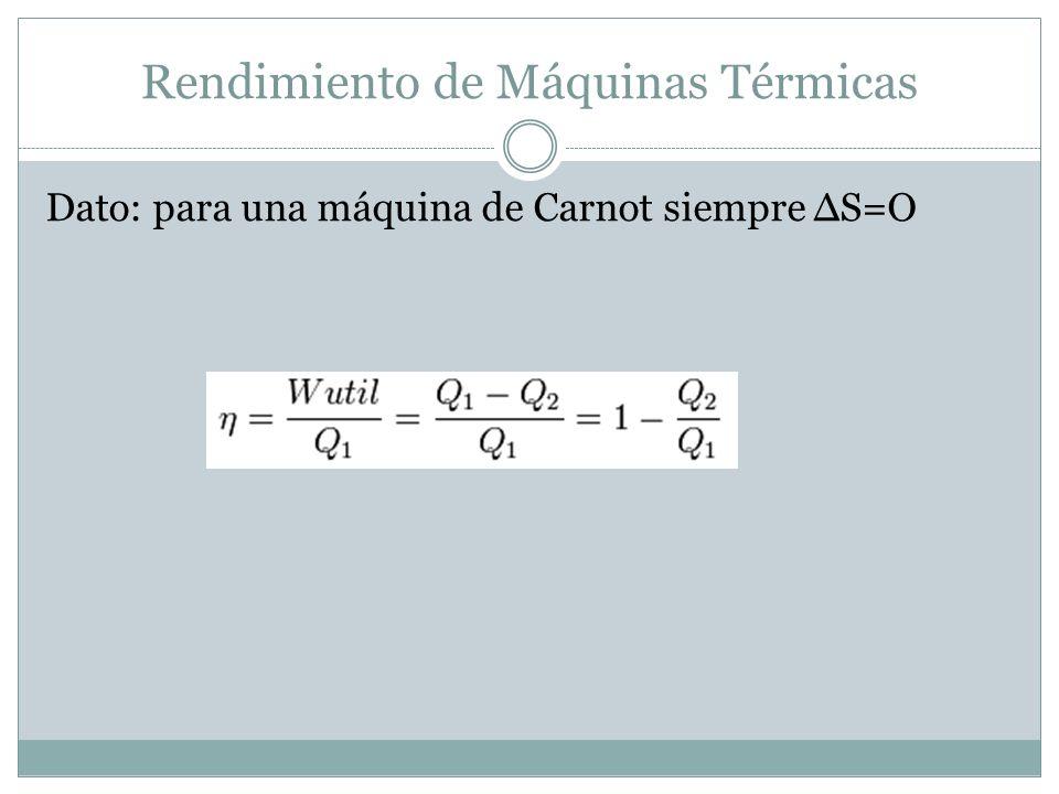 Rendimiento de Máquinas Térmicas Dato: para una máquina de Carnot siempre S=O