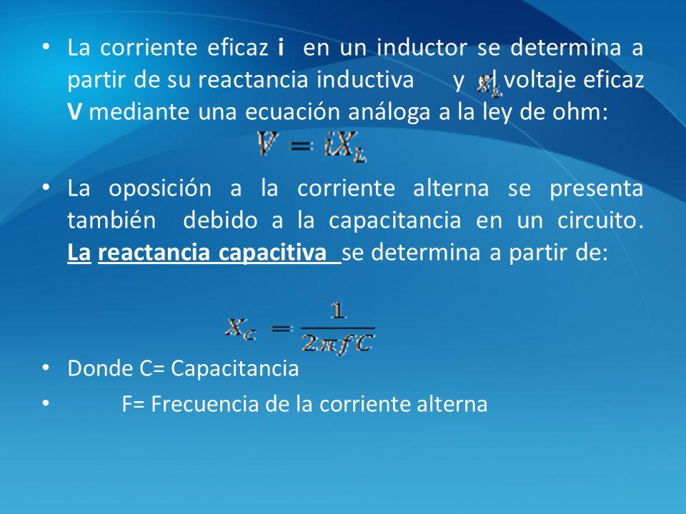 La corriente eficaz i en un inductor se determina a partir de su reactancia inductiva y el voltaje eficaz V mediante una ecuación análoga a la ley de