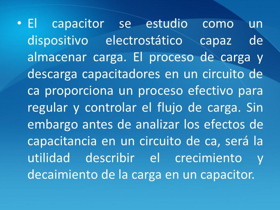 El capacitor se estudio como un dispositivo electrostático capaz de almacenar carga. El proceso de carga y descarga capacitadores en un circuito de ca
