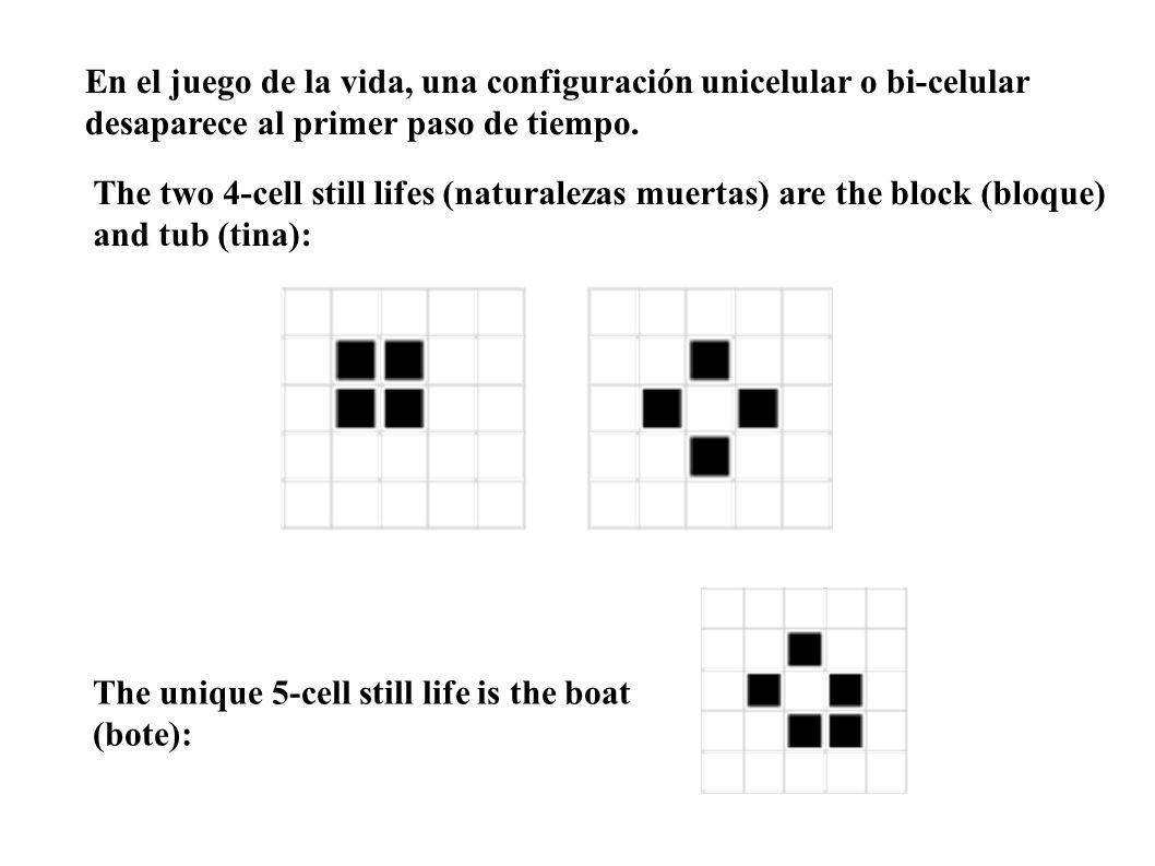 En el juego de la vida, una configuración unicelular o bi-celular desaparece al primer paso de tiempo. The two 4-cell still lifes (naturalezas muertas