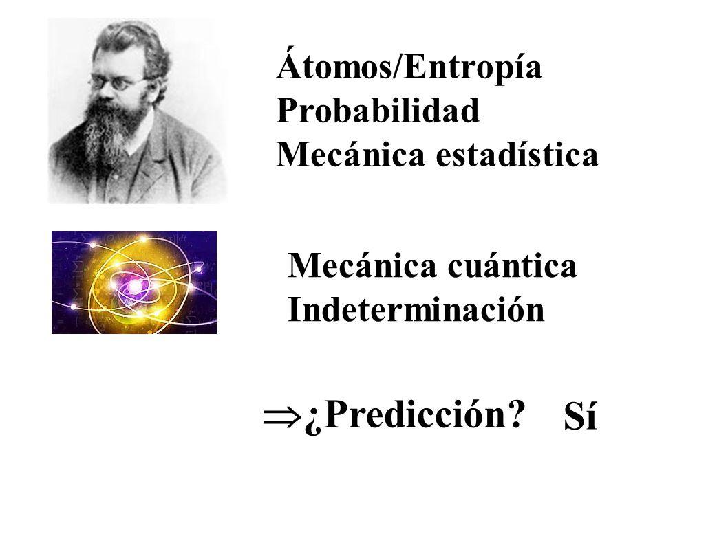 Mecánica cuántica Indeterminación Átomos/Entropía Probabilidad Mecánica estadística ¿Predicción? Sí