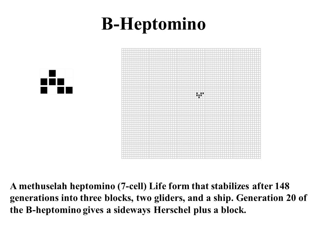 B-Heptomino A methuselah heptomino (7-cell) Life form that stabilizes after 148 generations into three blocks, two gliders, and a ship. Generation 20
