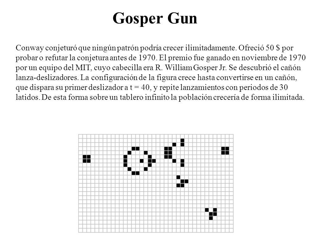 Gosper Gun Conway conjeturó que ningún patrón podría crecer ilimitadamente. Ofreció 50 $ por probar o refutar la conjetura antes de 1970. El premio fu