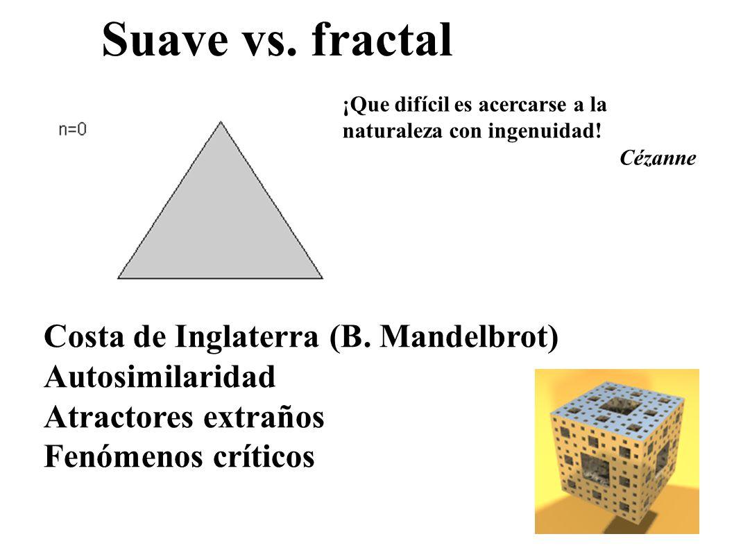 Suave vs. fractal Costa de Inglaterra (B. Mandelbrot) Autosimilaridad Atractores extraños Fenómenos críticos ¡Que difícil es acercarse a la naturaleza