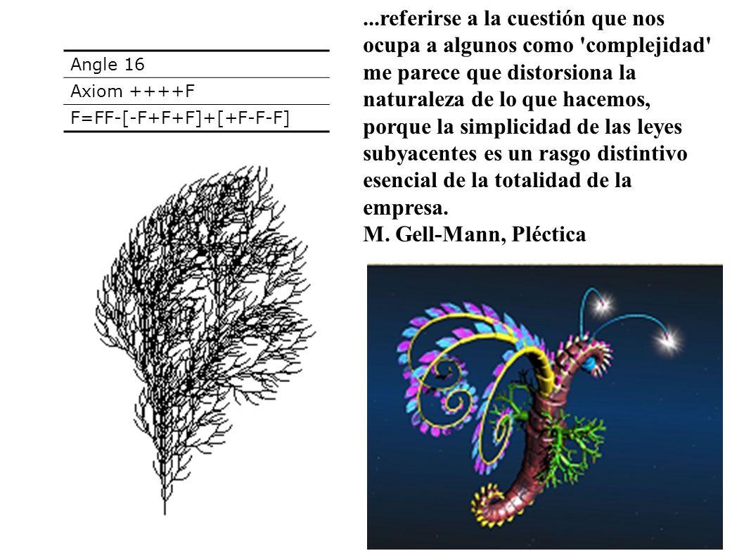 Angle 16 Axiom ++++F F=FF-[-F+F+F]+[+F-F-F]...referirse a la cuestión que nos ocupa a algunos como 'complejidad' me parece que distorsiona la naturale