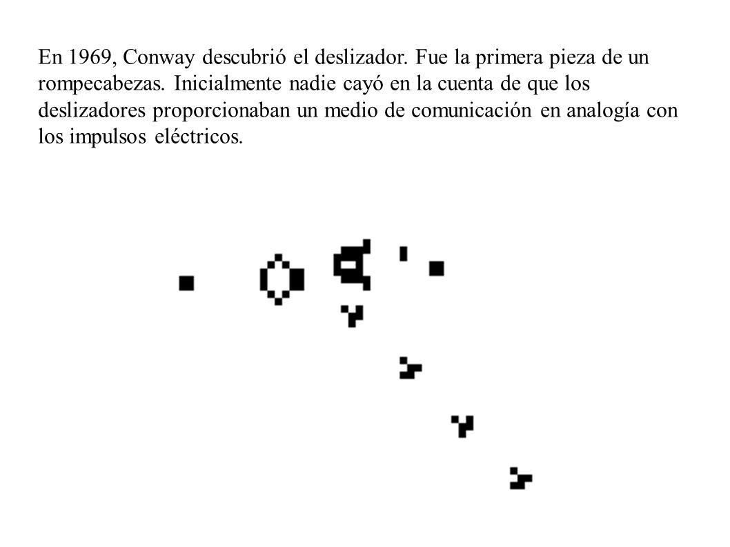 En 1969, Conway descubrió el deslizador. Fue la primera pieza de un rompecabezas. Inicialmente nadie cayó en la cuenta de que los deslizadores proporc