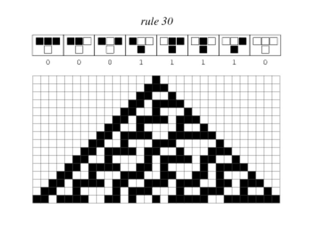 Evolución espacio-temporal de un AC: Un autómata en estado 0 se representa en negro y en estado 1 en blanco.