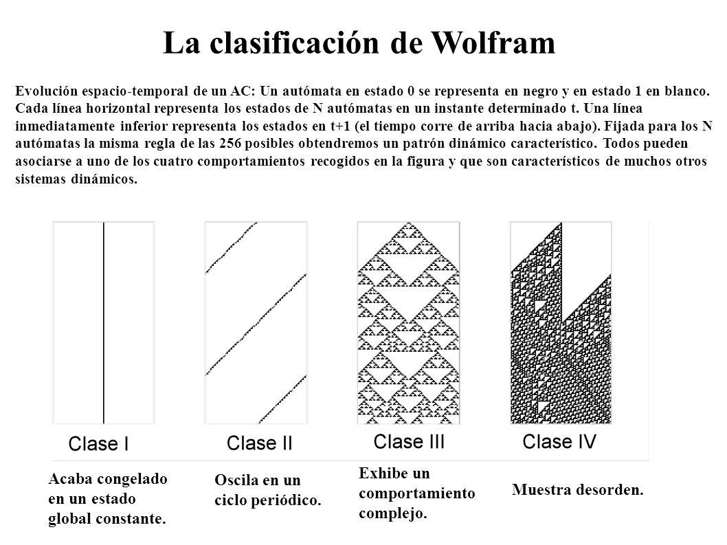 Evolución espacio-temporal de un AC: Un autómata en estado 0 se representa en negro y en estado 1 en blanco. Cada línea horizontal representa los esta