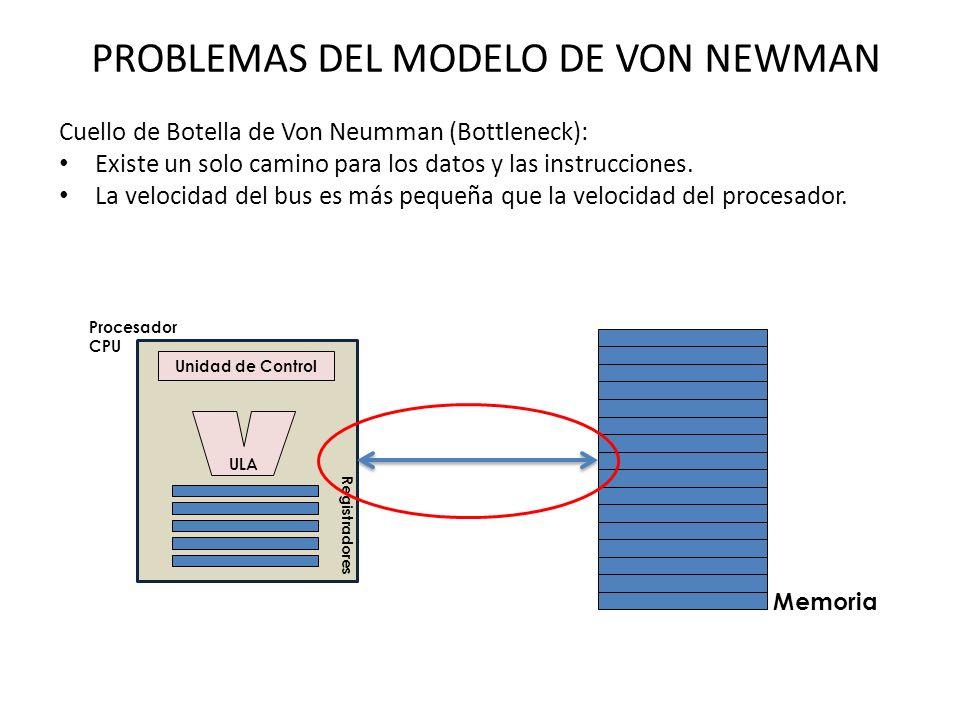 PROBLEMAS DEL MODELO DE VON NEWMAN Cuello de Botella de Von Neumman (Bottleneck): Existe un solo camino para los datos y las instrucciones.