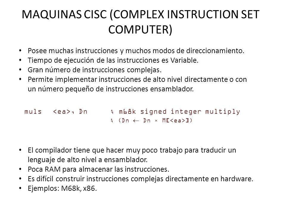 MAQUINAS CISC (COMPLEX INSTRUCTION SET COMPUTER) Posee muchas instrucciones y muchos modos de direccionamiento.