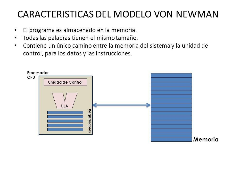 CARACTERISTICAS DEL MODELO VON NEWMAN El programa es almacenado en la memoria.