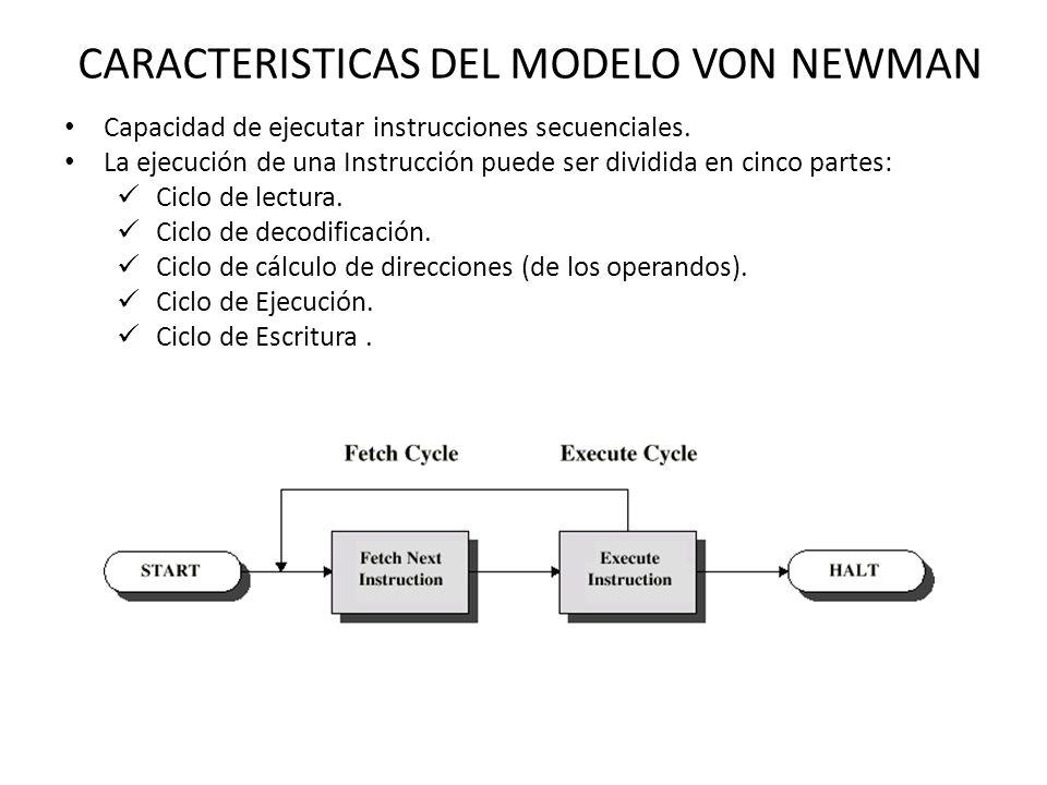 CARACTERISTICAS DEL MODELO VON NEWMAN Capacidad de ejecutar instrucciones secuenciales.