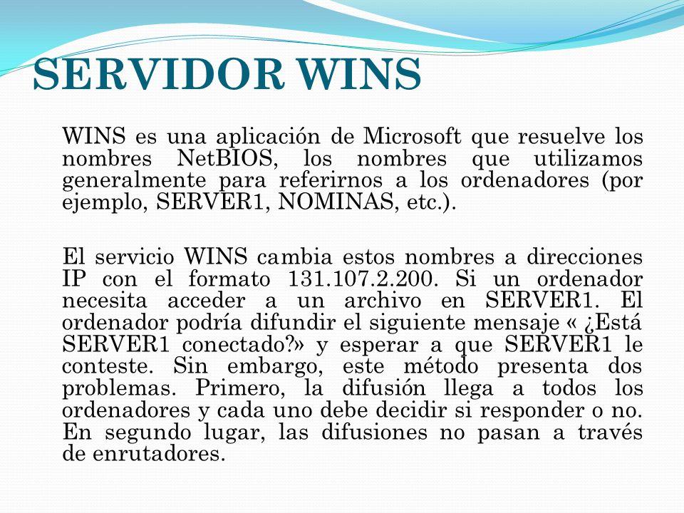 SERVIDOR WINS WINS es una aplicación de Microsoft que resuelve los nombres NetBIOS, los nombres que utilizamos generalmente para referirnos a los orde