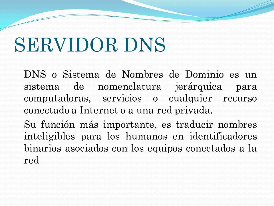 SERVIDOR DNS DNS o Sistema de Nombres de Dominio es un sistema de nomenclatura jerárquica para computadoras, servicios o cualquier recurso conectado a