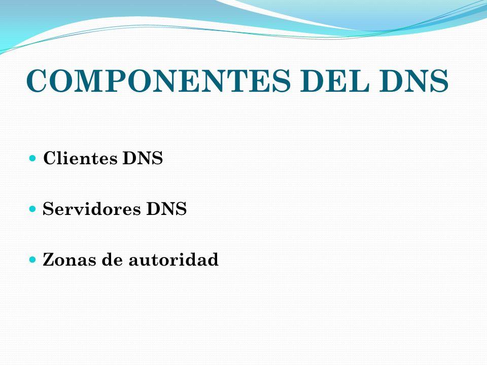 COMPONENTES DEL DNS Clientes DNS Servidores DNS Zonas de autoridad