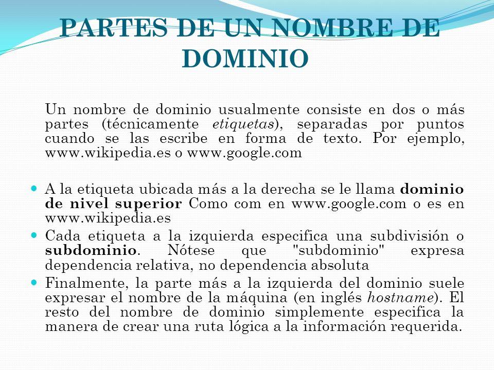 PARTES DE UN NOMBRE DE DOMINIO Un nombre de dominio usualmente consiste en dos o más partes (técnicamente etiquetas ), separadas por puntos cuando se