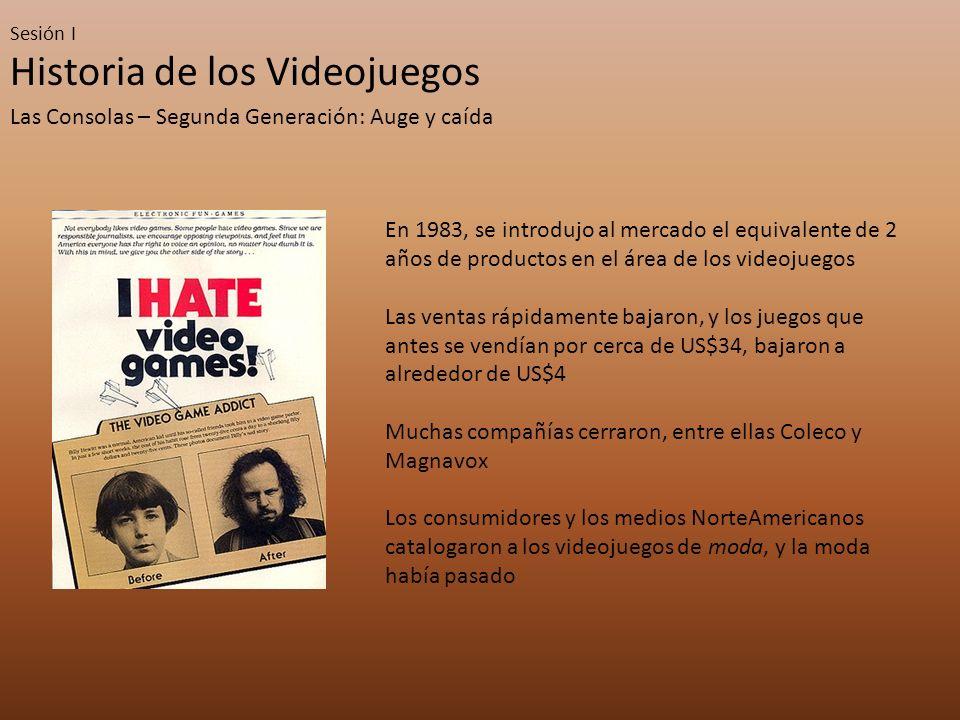 Sesión I Historia de los Videojuegos Las Consolas – Segunda Generación: Auge y caída En 1983, se introdujo al mercado el equivalente de 2 años de prod