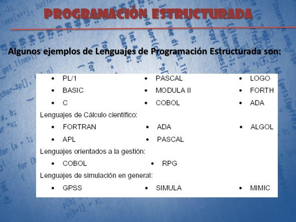 PROGRAMACIÓN ESTRUCTURADA Algunos ejemplos de Lenguajes de Programación Estructurada son:
