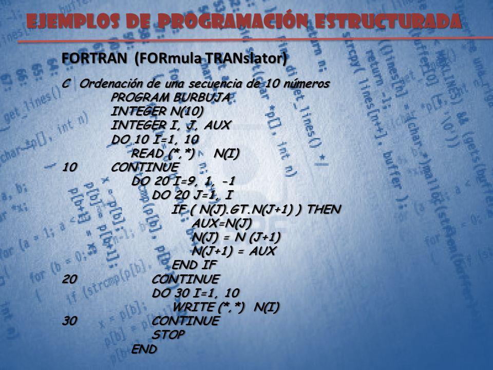 EJEMPLOS DE PROGRAMACIÓN ESTRUCTURADA FORTRAN (FORmula TRANslator) C Ordenación de una secuencia de 10 números PROGRAM BURBUJA INTEGER N(10) INTEGER I