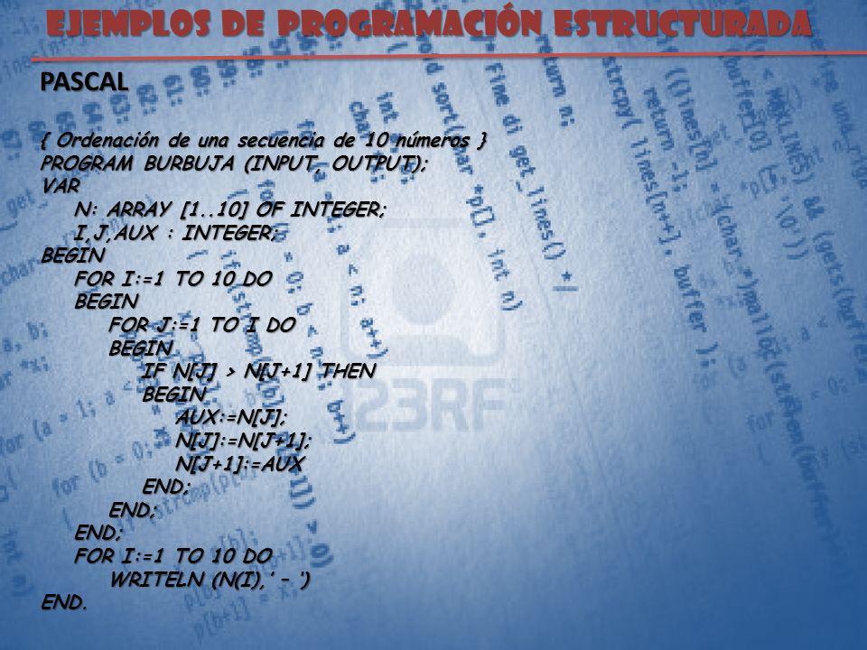 EJEMPLOS DE PROGRAMACIÓN ESTRUCTURADA PASCAL { Ordenación de una secuencia de 10 números } PROGRAM BURBUJA (INPUT, OUTPUT); VAR N: ARRAY [1..10] OF IN