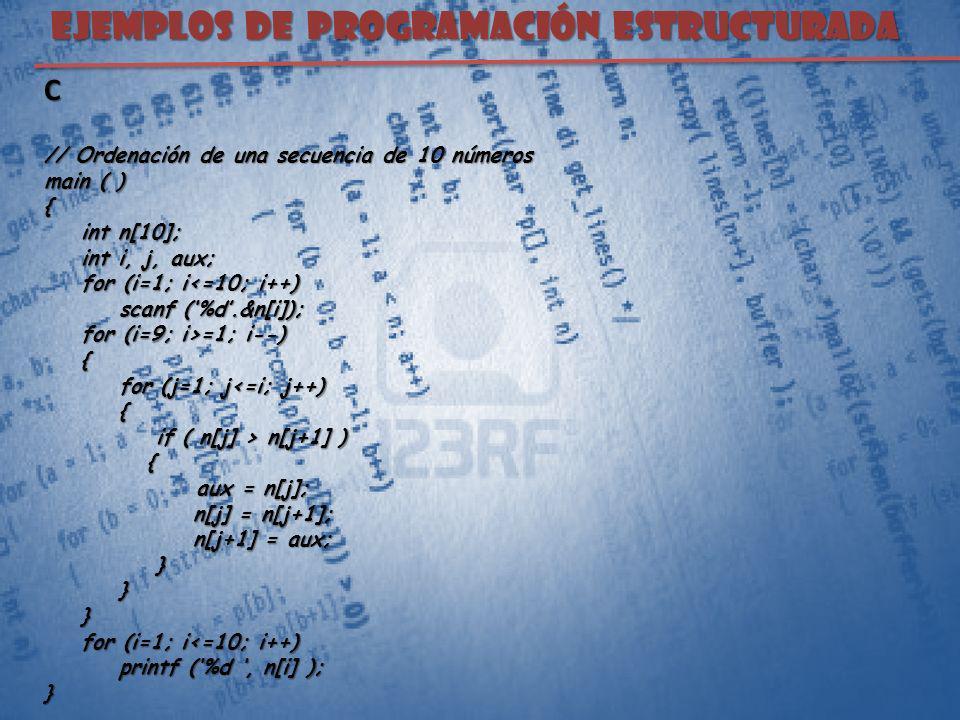 EJEMPLOS DE PROGRAMACIÓN ESTRUCTURADA C // Ordenación de una secuencia de 10 números main ( ) { int n[10]; int n[10]; int i, j, aux; int i, j, aux; fo