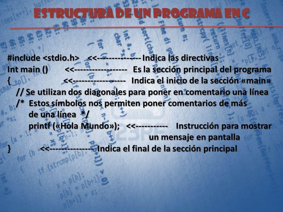 Estructura de un programa en C #include <<--------------- Indica las directivas Int main () <<------------------ Es la sección principal del programa