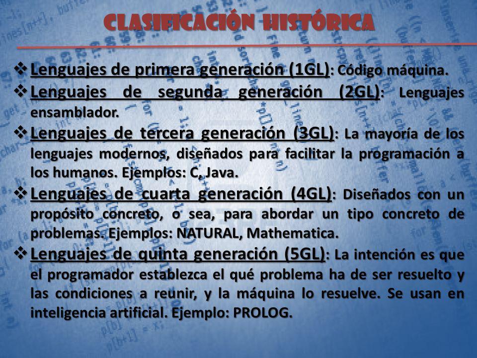 CLASIFICACIÓN histórica Lenguajes de primera generación (1GL) : Código máquina. Lenguajes de primera generación (1GL) : Código máquina. Lenguajes de s