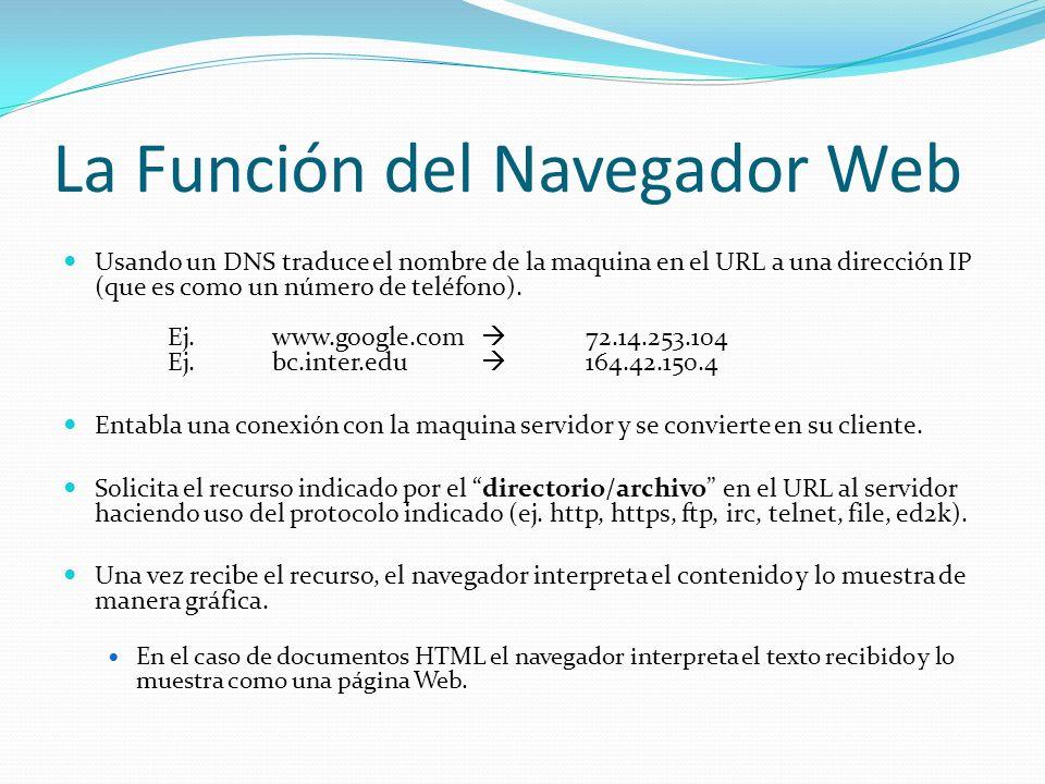 La Función del Navegador Web Usando un DNS traduce el nombre de la maquina en el URL a una dirección IP (que es como un número de teléfono).
