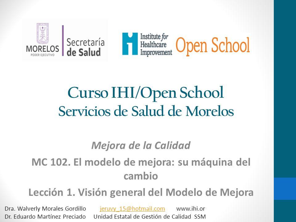 Curso IHI/Open School Servicios de Salud de Morelos Mejora de la Calidad MC 102. El modelo de mejora: su máquina del cambio Lección 1. Visión general