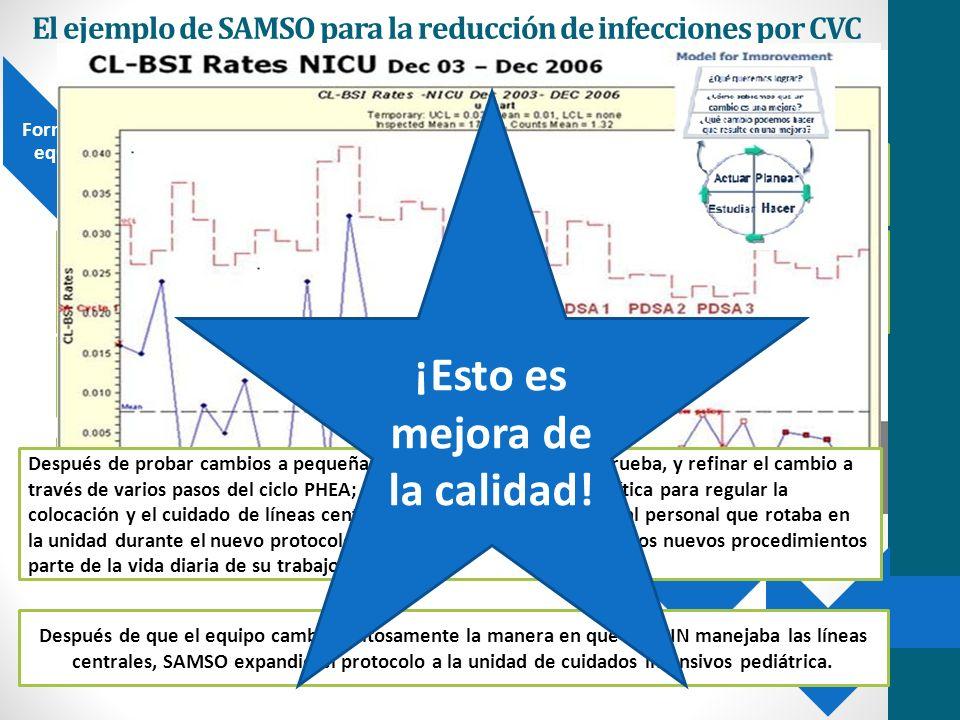 El ejemplo de SAMSO para la reducción de infecciones por CVC Forme un equipo Establezca medidas Pruebe cambios Defina un objetivo Desarrolle cambios Implemente cambios Disemine cambios Incluir a la gente adecuada es crítico: SAMSO incluyó al Jefe de neonatología, enfermera de la unidad.
