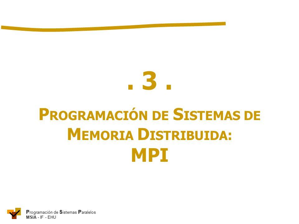 P rogramación de S istemas P aralelos MSIA - IF - EHU. 3. P ROGRAMACIÓN DE S ISTEMAS DE M EMORIA D ISTRIBUIDA : MPI