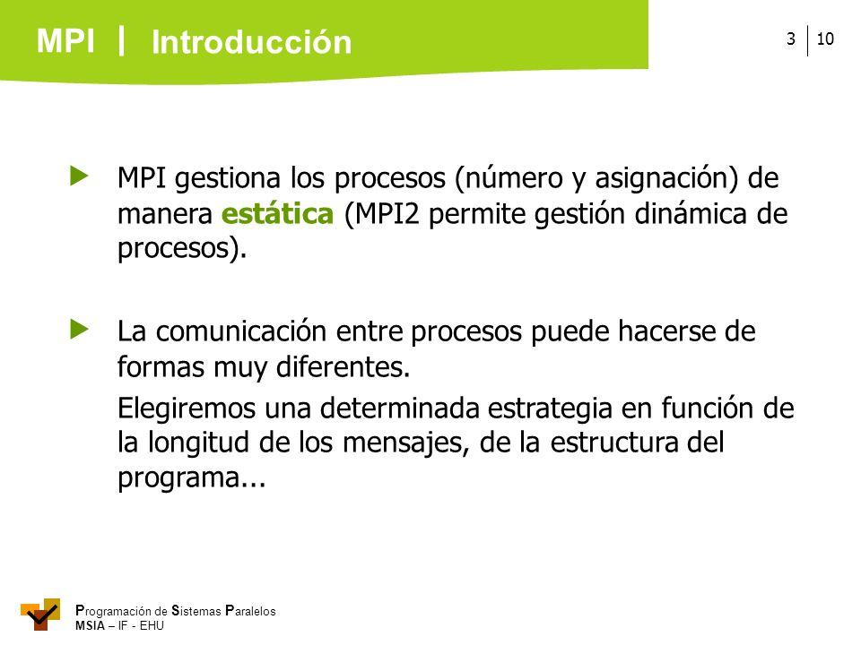 MPI P rogramación de S istemas P aralelos MSIA – IF - EHU 103 MPI gestiona los procesos (número y asignación) de manera estática (MPI2 permite gestión