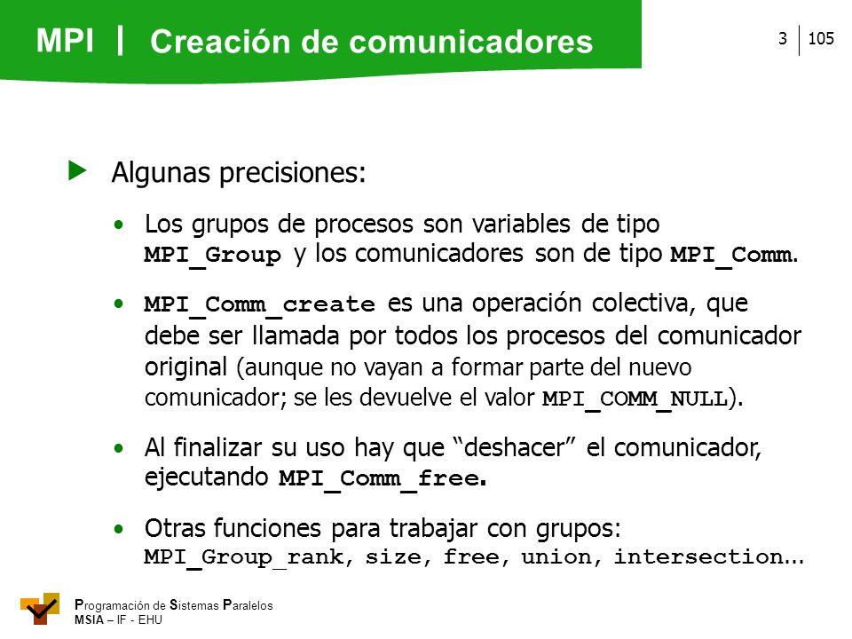 MPI P rogramación de S istemas P aralelos MSIA – IF - EHU 1053 Algunas precisiones: Los grupos de procesos son variables de tipo MPI_Group y los comun