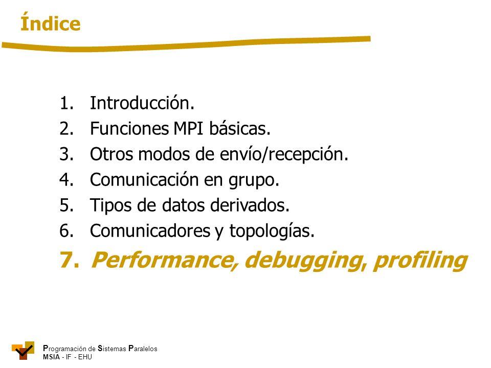 P rogramación de S istemas P aralelos MSIA - IF - EHU 1. Introducción. 2. Funciones MPI básicas. 3.Otros modos de envío/recepción. 4. Comunicación en